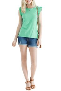 Broderie Sleeve Fitted Tee
