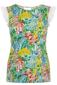 Fresh Flower Print Broderie Sleeve Top