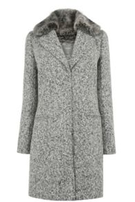Oasis Felicity Faux Fur Collar Coat