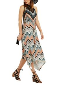 Oasis Chevron Stripe Hanky Hem Dress