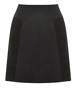 Patched Suedette Skirt