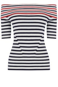 Oasis Stripe Ss Bardot Knit Top