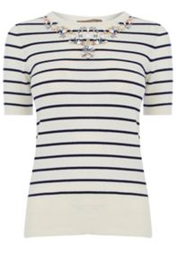 Oasis Embellished Stripe Knit