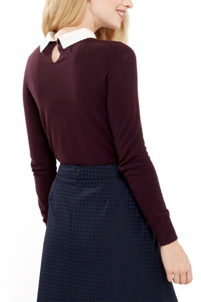 Oasis Embroidered Collar Knit