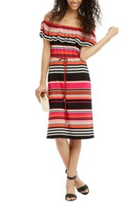 Oasis Cuba Stripe Bardot Dress