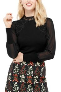 Oasis Lace And Sheer Knit