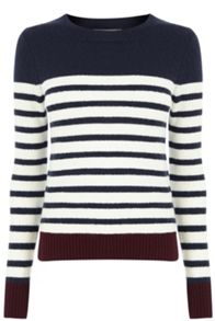 Oasis Stripe Crew With Buttons