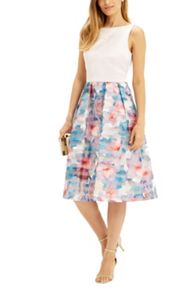 Oasis Digital Organza Midi Dress