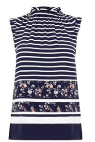 Oasis Stripe And Print High Neck Top