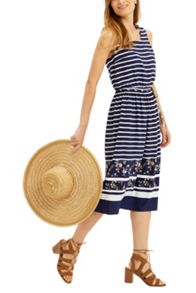 Oasis Stripe And Print Midi Dress