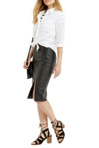 Oasis Pintuck Wrap Pencil Skirt