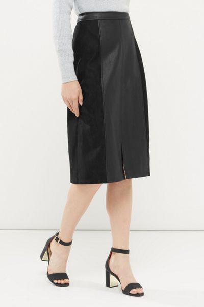 Oasis Suedette And Faux Leather Midi