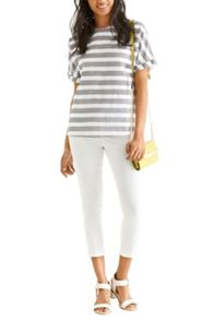Textured Stripe Roll Sleeve Tee