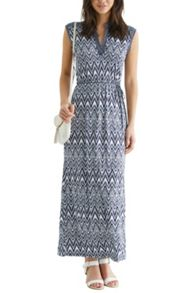 Aztec print notch neck maxi