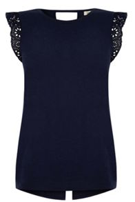 Broderie Sleeve Fitted T-shirt