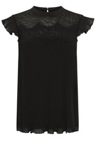 Pleat And Lace Trim Blouse