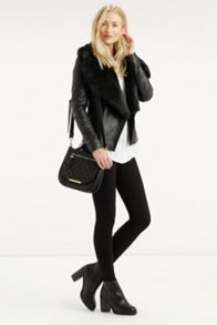 Faux Fur Collar Leather Drape