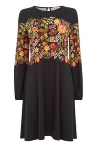 Embroided Floral Print Dress