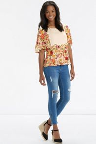 Embroided Floral Print Top