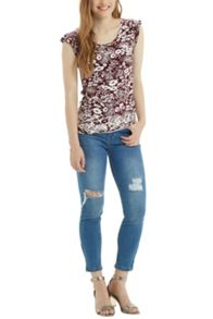 Floral Patched Angel Sleeve Top