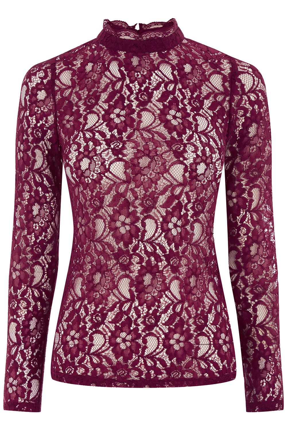 Oasis Lace High Neck Top Red £25.00 AT vintagedancer.com