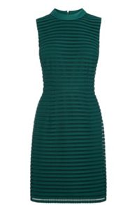 Stripe Mesh High Neck Dress