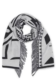 Abstract Fringed Scarf