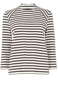 Stripe Ponte High Neck Top