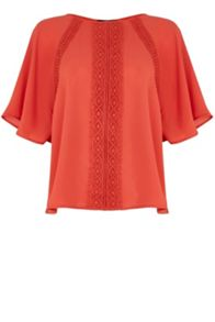Bobble Trim Fluted Sleeve Top