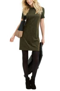 Oasis Suedette Front Tshirt Dress