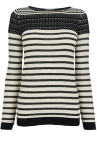 Stripe Sparkle Pointelle Top