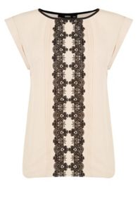 Oasis Lace Trim Roll Sleeve T-Shirt