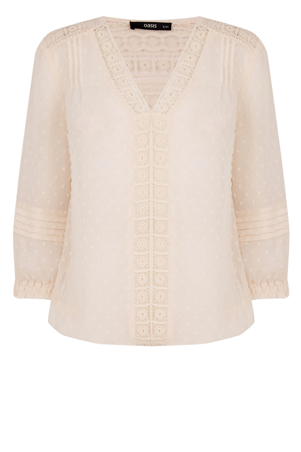 Oasis Dobby Lace Trim V Neck Blouse £12.00 AT vintagedancer.com