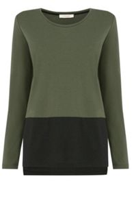 Colourblock V Neck Top