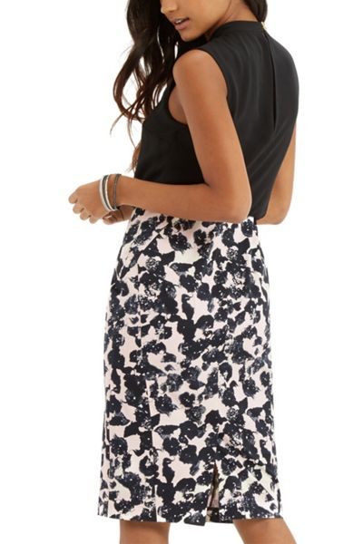 Oasis shadow print 2 in 1 dress black white house of fraser