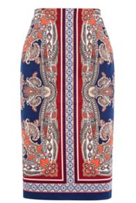 Oasis Paisley Pencil Skirt