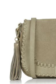 Oasis Suede/Pu Whipstitch Saddle Bag