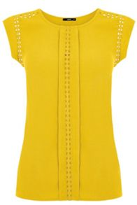 Oasis Moss Crepe Bobble Trim Top