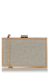Oasis Gold Glitter Box Clutch