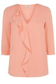 Oasis V Neck Frill3/2 Sleeve Top