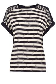Oasis Anchor Stripe Lace Trim T-Shirt
