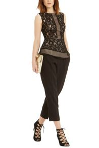 Oasis Patched Lace Peplum Top