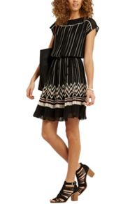 Oasis Pleat Stripe Dress