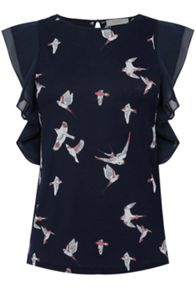 Oasis Bird Print Lace Trim Tee