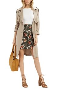 Oasis Palm Belted Aline Skirt