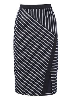Stripe Wrap Pencil Skirt