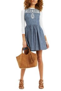 Oasis Alicia Embroidered Denim Dress