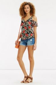 Oasis Waikiki Print Cold Shoulder Top