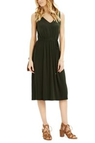 Oasis Pleated V Midi Dress