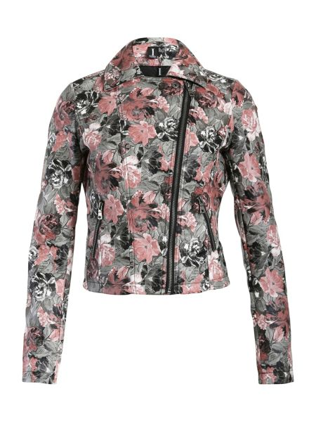Izabel London Rose Print Biker Jacket